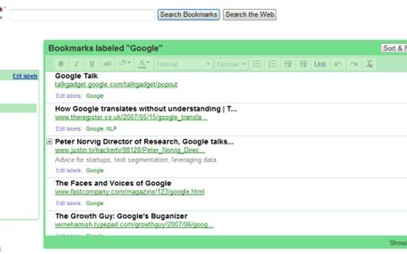 Скриншот 1 программы Google Bookmarks