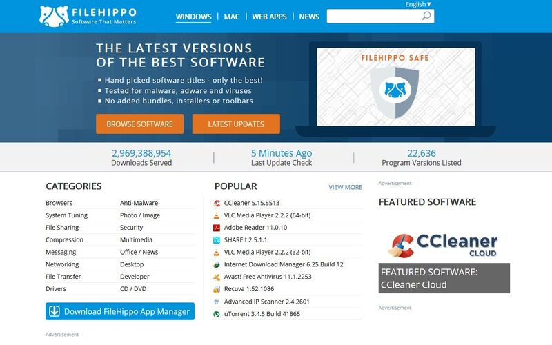 Скриншот 1 программы FileHippo