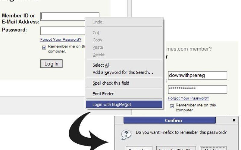 Скриншот 1 программы BugMeNot