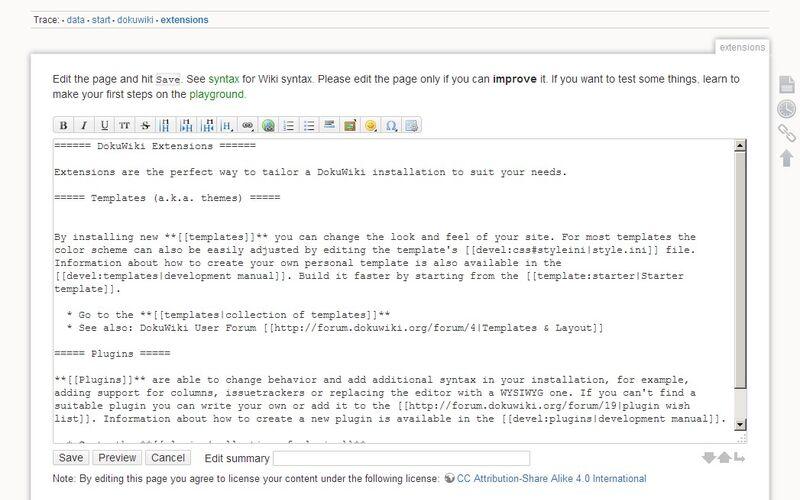 Скриншот 1 программы DokuWiki