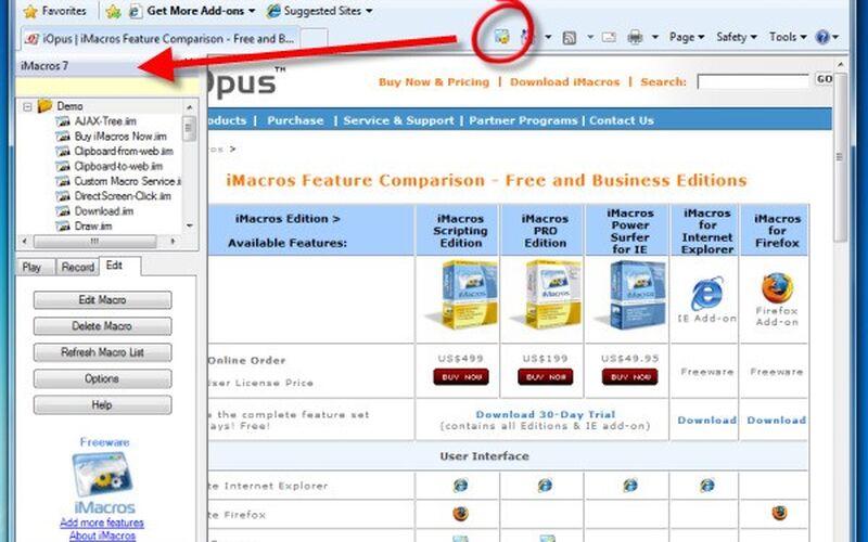 Скриншот 1 программы iMacros