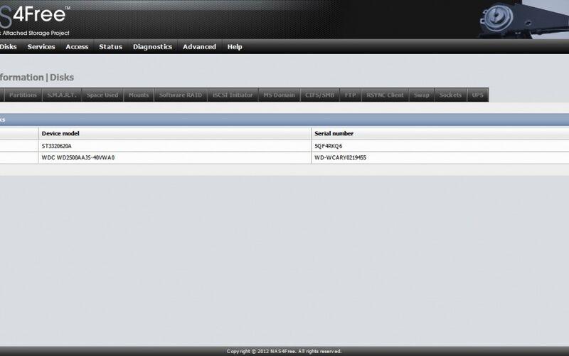 Скриншот 1 программы NAS4Free
