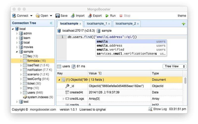 Скриншот 1 программы NoSQLBooster for MongoDB