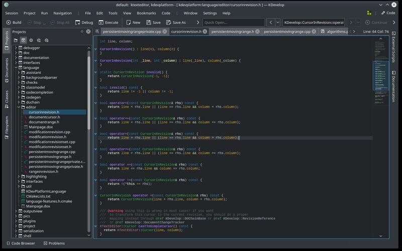 Скриншот 1 программы KDevelop