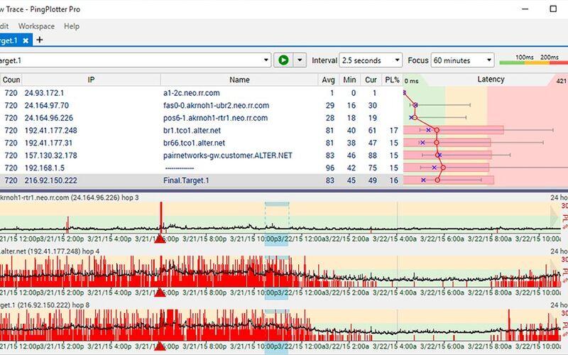 Скриншот 1 программы PingPlotter