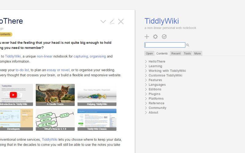 Скриншот 1 программы TiddlyWiki