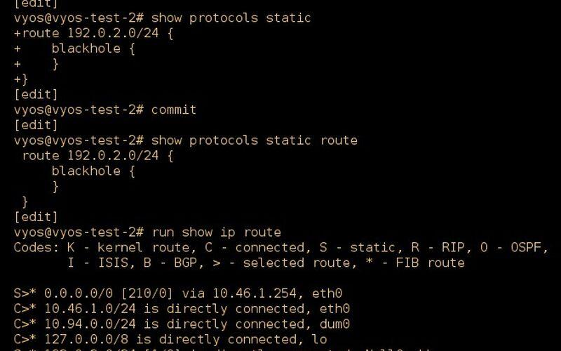Скриншот 1 программы VyOS