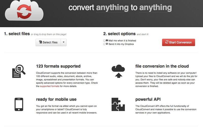 Скриншот 1 программы CloudConvert
