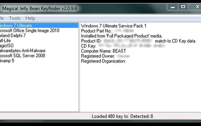 Скриншот 1 программы Magical Jelly Bean Keyfinder