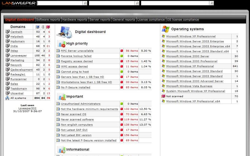 Скриншот 1 программы Lansweeper Network Inventory