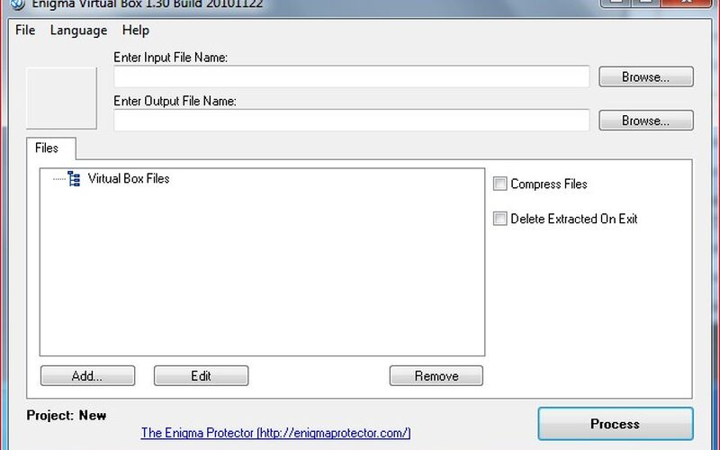 Скриншот 1 программы Enigma Virtual Box
