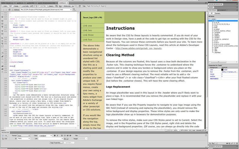 Скриншот 1 программы Adobe Dreamweaver