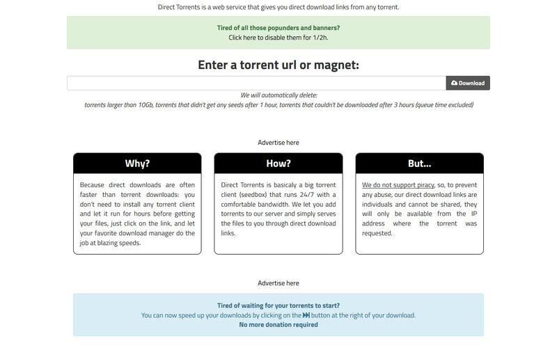 Скриншот 1 программы Direct Torrents
