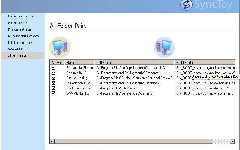 Скриншот 1 программы SyncToy