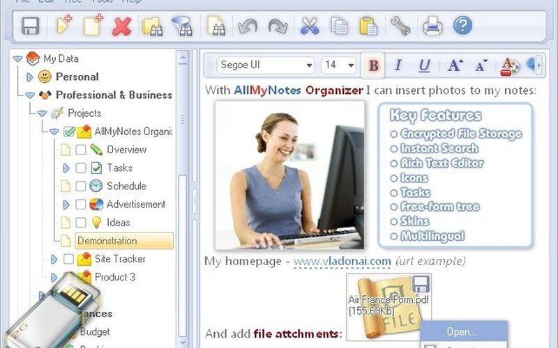 Скриншот 1 программы AllMyNotes Organizer