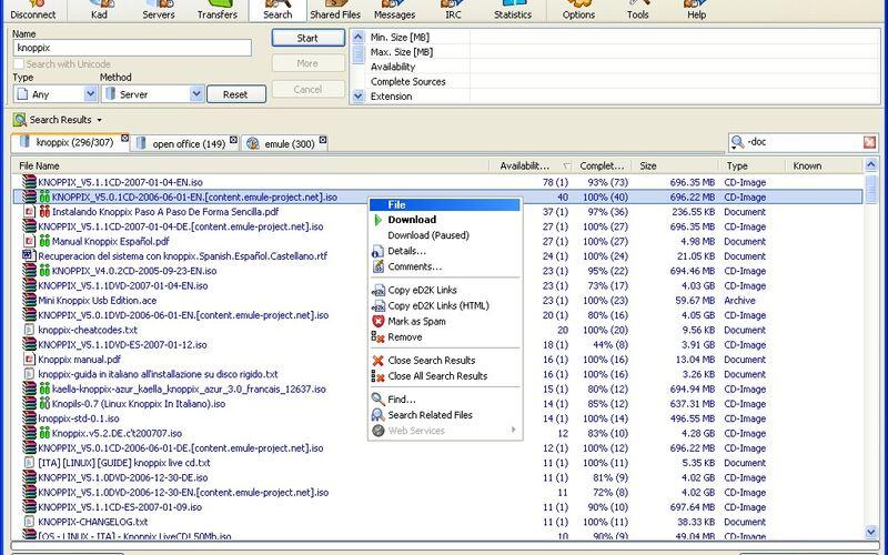 Скриншот 1 программы eMule