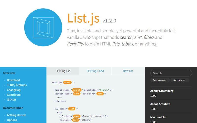Скриншот 1 программы List.js