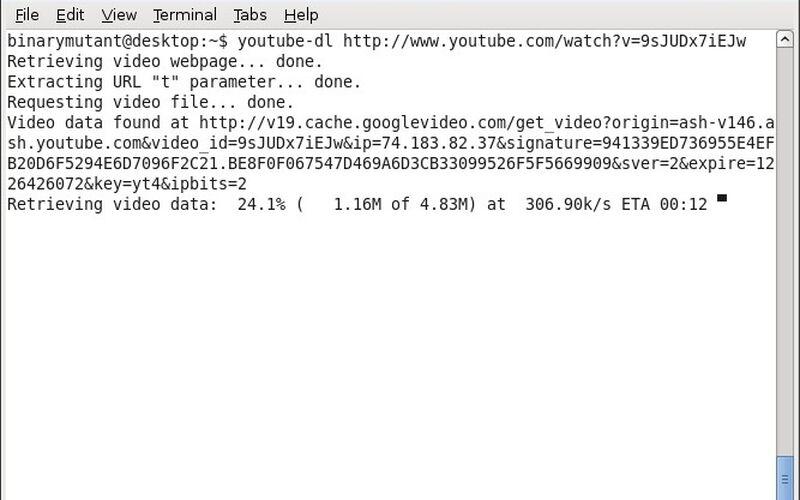 Скриншот 1 программы youtube-dl