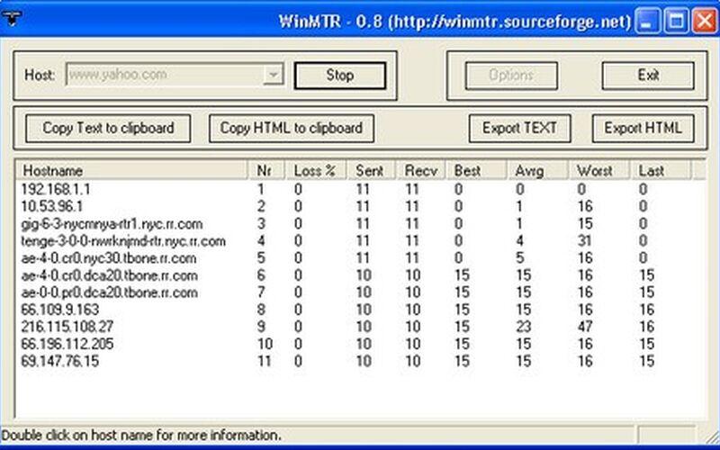 Скриншот 1 программы WinMTR