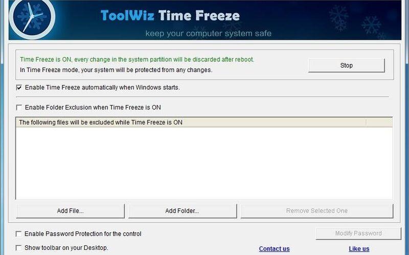 Скриншот 1 программы Toolwiz Time Freeze