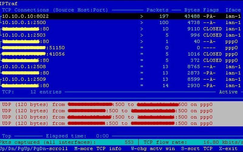 Скриншот 1 программы IPtraf-ng