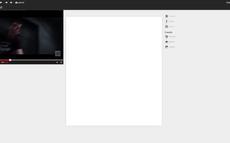 Скриншот 1 программы oTranscribe