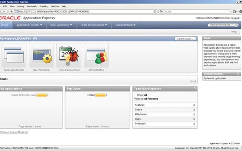 Скриншот 1 программы Oracle APEX