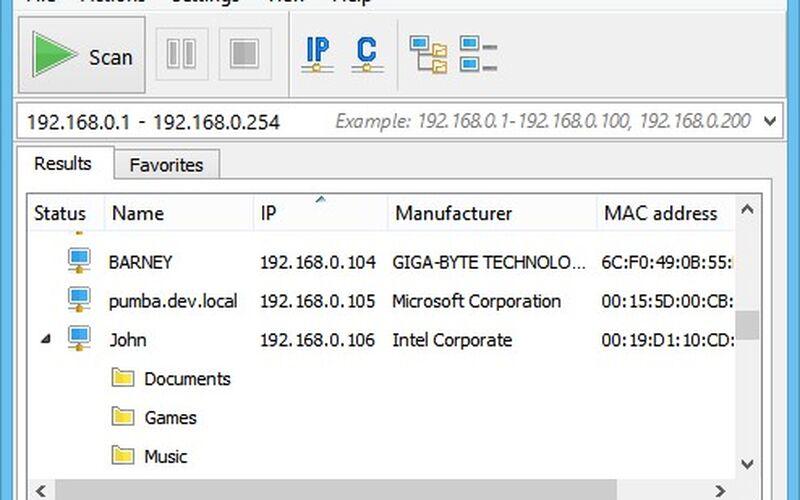 Скриншот 1 программы Advanced IP Scanner