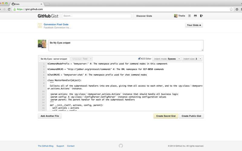 Скриншот 1 программы GitHub Gist