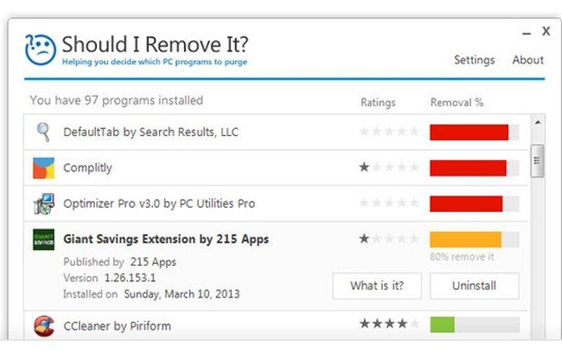 Скриншот 1 программы Should I Remove It?