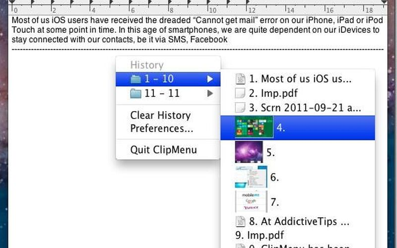 Скриншот 1 программы ClipMenu