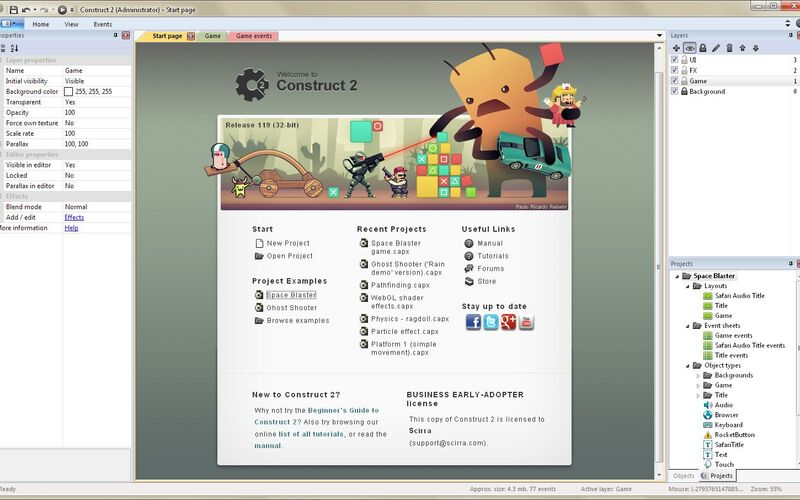 Скриншот 1 программы Construct 2