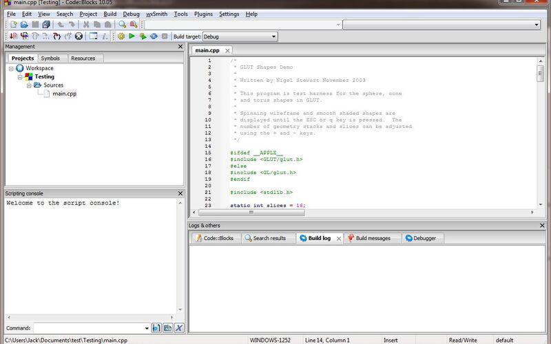 Скриншот 1 программы Code::Blocks